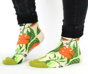 Mens women's cream floral soft comfortable socks one-size fit UK size 5-9