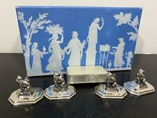 Vintage WEDGWOOD Kitty Cat Silver Tone Place Card Holders