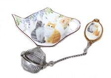 NEW 1pc Cute Cat Kitten Tea Strainer Set Fine Bone China Birthday Xmas Gift