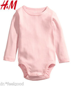 Authentic H&M Light Pink Bodysuit Romper Soft Cloth Baby Toddler Girl ~ New