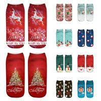 Fashion Unisex Christmas Funny 3D Printed Casual Socks Low Cut Ankle Socks New