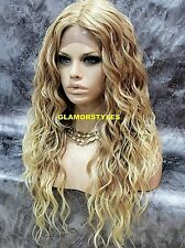 Long Spiral Curls Medium Blonde Mix Full Lace Front Wig T27.613 Hair Piece NWT