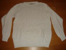 Women's Vintage Le Chateau Classic White Cotton Knit Jumper Sweater Top M Medium