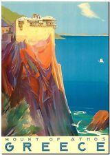 "Cool Retro Travel Poster *FRAMED* CANVAS ART Greece Mt Athos 18x12"""