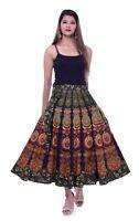 Long Skirt Wrap Around Skirt Women Rapron Indian Cotton Peacock Mandala Printed
