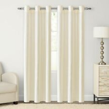 NEW *THE BIG ONE* GROMMET TOP 2 PACK WINDOW PANELS IVORY 84 inch LENGTH CURTAINS