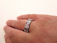 925 Sterling Silver Ring With Amethyst And White Topaz UK P 1/2, US 8 (rg1974)