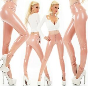 Hose Leggings Wet Look Lack Leder Kunstleder Optik Hoch Glanz Jeggings Zip Rosa