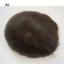 #3 Brown Mono Lace Replacement Men's Toupee Wigs 100%Real Human Hair Hairpieces