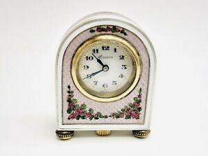 Antique Sterling Silver 0,925 Austrian Enamel Miniature Table Clock