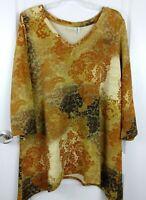 Logo Lounge Womens Brown Floral Print 3/4 Sleeve Tunic Blouse Size XL