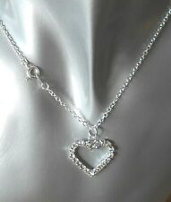 "DIAMANTE HOLLOW HEART NECKLACE ON 18"" SILVER PLATED CHAIN"