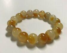 Natural Yellow Nephrite Jade Stone Beaded Stretch Bracelet