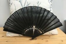 Vintage Antique Victorian Hand Ebonised Wood and Black Silk Mourning Fan
