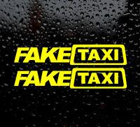 x2 Fake Taxi Sticker vinyl decal Slammed Ride Euro JDM Drift Air Low Dub VW AUDI