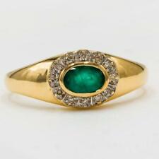 Ring mit Smaragd und Diamanten 0,12 ct. emerald in 14 Kt. 585 Gold Damen Gr. 58