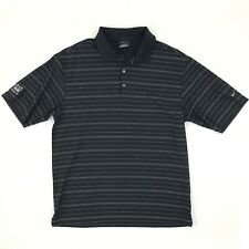 Nike Golf Dri-Fit Polo Shirt Men's Medium Black Short Sleeve Striped PPG Shelby