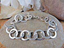 "Canada Sterling Silver 925 Plain Flat Circles Chain Link 7"" Bracelet 19.6gr #736"