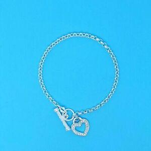 Genuine 925 Sterling Silver Belcher Bracelet Stone Set T Bar Fitting and Heart