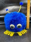"1 Giant Weepul Vtg Blue Fluffy Pom Poms Googly Eyes 11"" Tall"