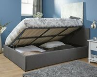 Side Lift Fabric Storage Bed 4FT Small Double 4ft6 Double Ottoman Grey Gas Lift