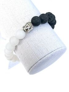 10mm Yin Yang Silver Buddha Head Stretch Bead Bracelet White Jade Lava Rock
