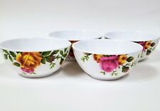 NEW ROYAL ALBERT SET OF 4 PC WHITE OLD COUNTRY ROSES MELAMINE SALAD,CEREAL BOWL