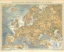 Alte historische Landkarte 1898: Physikalische Ãœbersichtskarte von Europa. (B14)