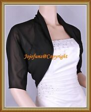 BLACK CHIFFON SHRUG/BOLERO/CAPE/WRAP/JACKET,1/2 Sleeve