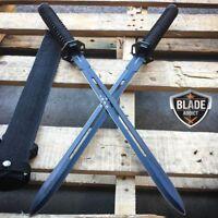 "2 PC 23"" NINJA SWORD BLACK DUAL Tactical Machete Blade Katana SAMURAI Knife SET"