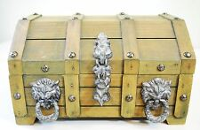 "Antique Wooden Trunk Treasure Chest Jewelry Trinket Box Cat Faces 9.5""x7.5""x6"""