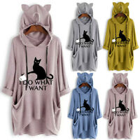 Women Casual Print Cat Ear Hooded Blouse Long Sleeves Pocket Irregular Top Shirt