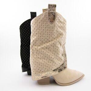 Stivali donna punta TEXANI scamosciati beige neri tacco largo brillantini estivi