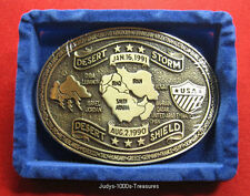 DESERT STORM BELT BUCKLE SOLID BRASS 1990 TO 1991 MADE IN THE U.S.A.