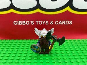 A LEGO DWARF WARRIOR + axe & shield minifigure CASTLE FANTASY ERA theme knight