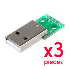 3pcs USB Male Plug Type-A DIP 2.54mm Breakout Board PCB 4pin Connector Adapter