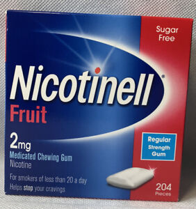 NICOTINELL FRUIT 2MG MEDICATED CHEWING GUM 204 PIECES SUGAR FREE GUM FREE POST !