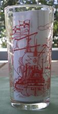 Retro Vintage Swanky Swig Promotional Glass -  Pirate/Tall Ships/Galleons in Red