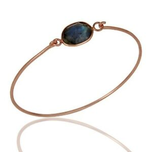 Natural Labradorite Birthstone Jewelry Rose Gold Plated Sterling Silver Bangle