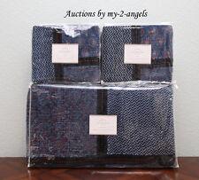 Pottery Barn Jori Cotton Velvet Patchwork F/Q Quilt+2 Euro Shams Set Blue *Nla