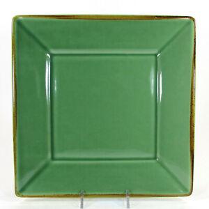 "Pottery Barn ASIAN SQUARE LIGHT GREEN 10.5"" Dinner Plate Jade Brown Trim Japan"