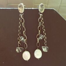 RARE Silpada Sterling Silver Pearl Quartz dangle earrings on post P1541 HTF Cute