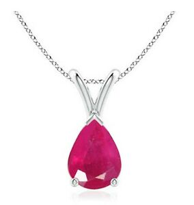 2.00Ct Pear Shape 100% Natural Burmese Ruby Solitaire Pendant In 14KT White Gold
