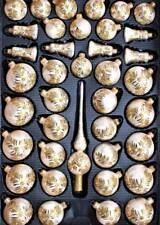 40er Christbaumschmuck Set Eislack Gold Blumenmuster, Lauscha von Hand bemalt