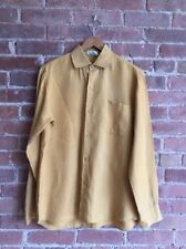 Vintage Agnes b. Homme Mens Shirt, 100% Linen, Sz Small, Mustard Yellow, France