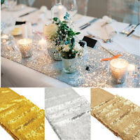 "Rose Gold Glitter Sequin Table Runner 12""x108"" Sparkly Wedding Party Deco"