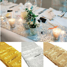 """Folded Edge Gold Glitter Sequin Table Runner 12""""x108"""" Sparkly Wedding Party Deco"""