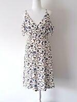 Kookai Silk Floral Paisley Cold Shoulder Sienna Dress 38