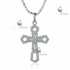18k white gold gf made with SWAROVSKI crystal cross pendant necklace