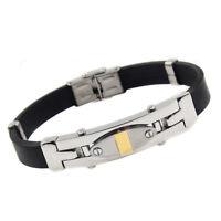 bracciale braccialetto da uomo in acciaio gomma cod.290